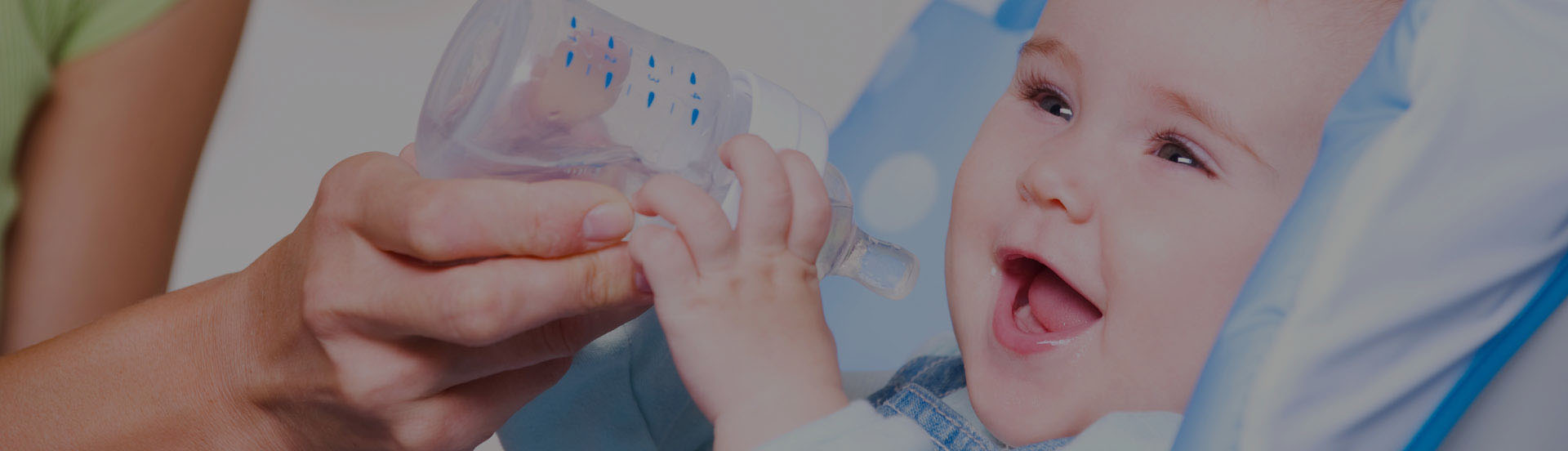 Infant drinks water
